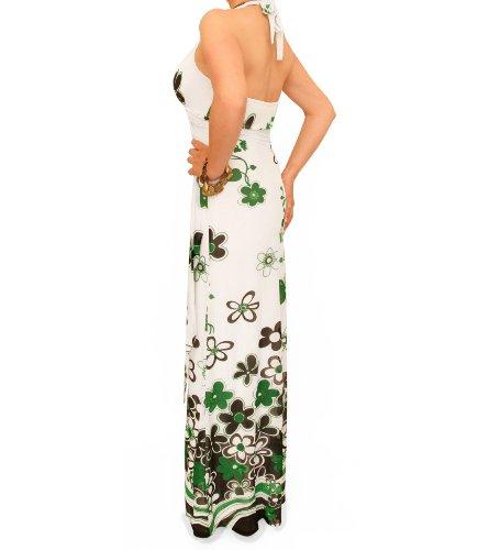 Maxi Blue Weiß und Netzstoff Blumendruck Banana kleid mit Grün fqxgaAwqn