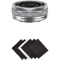Olympus 14-42mm f3.5-5.6 EZ Interchangeable Lens for Olympus/Panasonic Micro 4/3 Digital Camera (Silver) w/ AmazonBasics Microfiber Cloths