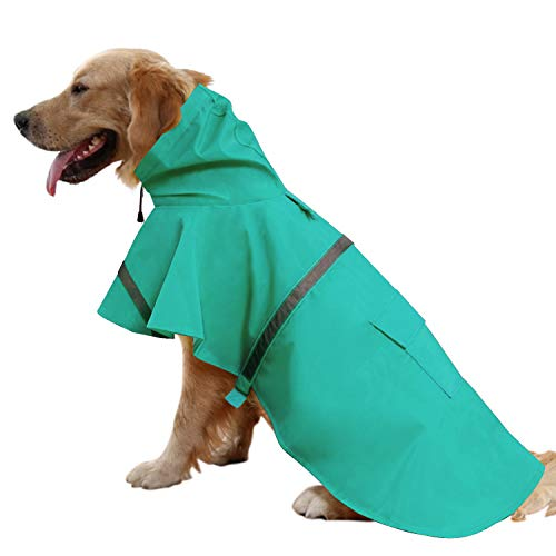 (Mikayoo Large Dog Raincoat Ajustable Pet Waterproof Clothes Lightweight Rain Jacket Poncho Hoodies with Strip Reflective(Lake Blue,XL))