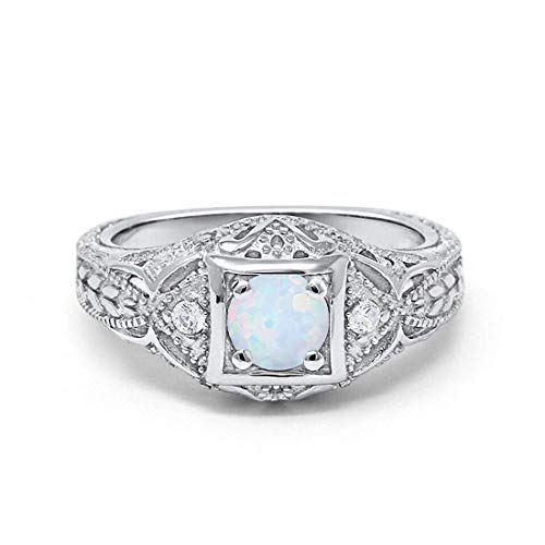 Set Blue Opal Wedding - Blue Apple Co. Art Deco Antique Style Wedding Engagement Ring Created White Opal Round Simulated Cubic Zirconia 925 Sterling Silver, Size-7