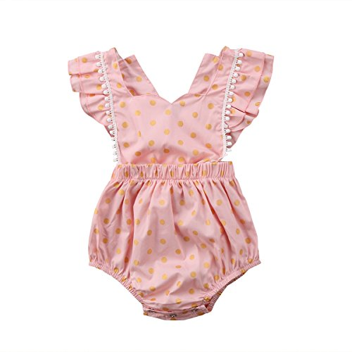 Beautiful Button Front (Emmababy Baby Girls Clothes Ruffles Sleeve Buttons Romper Bodysuit Dot Jumpsuit Summer Outfit (Pink, 12~18Months))