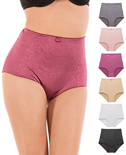 Barbra Lingerie Womens Underwear High-Waist Tummy Control Girdle Panties Small to Plus Size Assorted 6 Pack (XXXX-Large, Silky Flower)