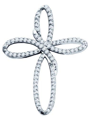 10 k Or Blanc Pendentif Croix Diamant 0,25 Dwt or de haute qualité Or 9 Carats JewelryWeb