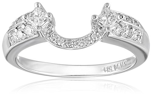 14k White Gold Round and Princess Diamond Solitaire Engagement Ring Enhancer (3/8 carat, H-I Color, I1-I2 Clarity), Size 7 (Guard Princess Ring Cut Diamond)