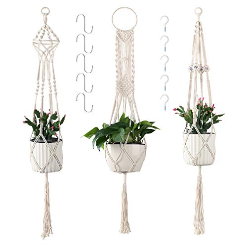 (Cuttte Macrame Plant Hangers with 10 Hooks, 3 Different Pack, Indoor Outdoor Hanging Planter Basket, Hanging Plant Holders, Decorative Macrame Hangers, 4 Legs 43.3 Inch, Cream Color, Boho Decor)