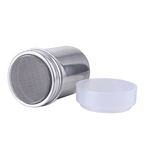 (Stainless Steel Icing Sugar Powder Cocoa Flour Coffee Sifter Chocolate Shaker with Lid)