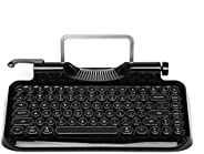RYMEK Typewriter Style Mechanical Wired & Wireless Keyboard with Tablet Stand, Bluetooth Connection (All B