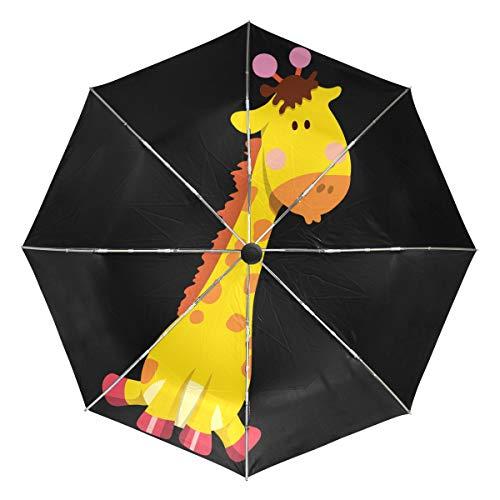Cartoon Giraffe Lightweight Umbrella Windproof, Reinforced Canopy, Ergonomic Handle, Auto Open for Men Women