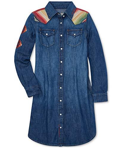 Ralph Lauren Polo Girls Southwestern Cotton Denim Dress (10)