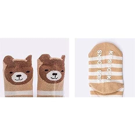 Wansan 6 pairs Baby Slipper Socks Animal Strip Printing Toddler Kids Anti-slip Floor Socks for Baby Girl Boy