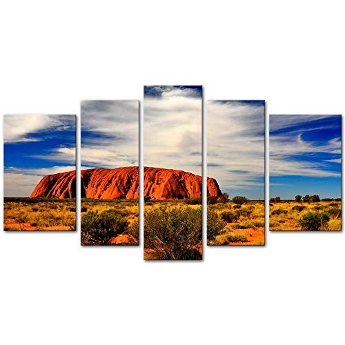 Wall Art Decor Poster Painting On Canvas Print Pictures 5 Pieces Most Famous Australia Land Mark Uluru Kata Tjuta National Park Landscape Canyon Framed Picture for Home Decoration Living Room Artwork