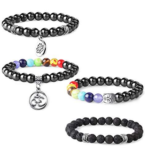 (Thunaraz 4pcs Men Women Beads Bracelet Healing Energy Magnetic Hematite Therapy Beads Chakras Bracelet)
