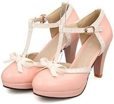 Lucksender Fashion T Strap Bows Womens Platform High Heel Pumps Shoes