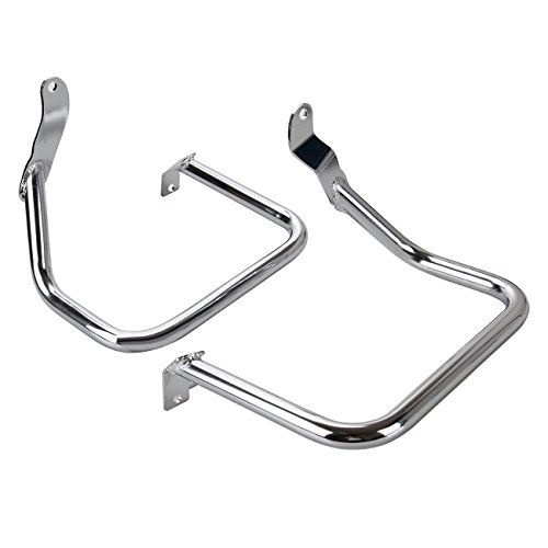 Ambienceo Chrome Rear Saddlebag Guard Rail Crash Bar for Harley Softail FLST FLSTC FXST FXSTB FXSTS 2000-12 11 10 09 08
