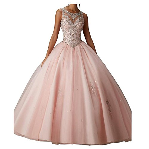Beilite Women's Beaded Ball Gown Quinceanera Dress Tulle Long Appliques Prom Gown Blush 16