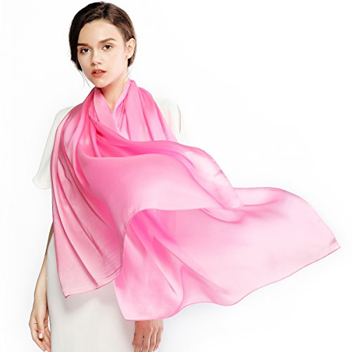 Silk Winter Neck Scarf - Silk Scarf for Women 100% Silk Solid Color Long Large Lightweight Satin Shawl Wrap Headscarf