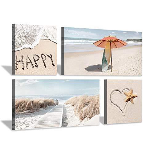 Beach Theme Canvas Wall Art: Coastal Dunes with Heart & Umbrella Picture Print Painting Set(12''x12''x2pcs+24''x12''x2pcs) Bar Sign 24' Tropical Decor