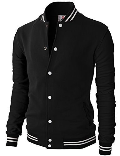 (H2H Mens Slim Fit Varsity Baseball Bomber Cotton Lightweight Premium Jacket  Cmoja083-jetblack XX-Large)