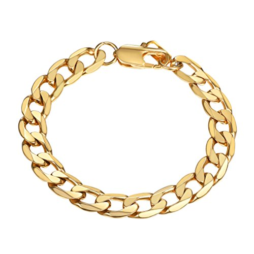 PROSTEEL Gold Chain Bracelets 18K Plated Hip Hop Men Women Jewelry Gift Stainless Steel Stacking Layering Curb Chain Cuban Link Bracelet Curb Mens Gold Bracelet