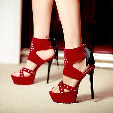 LvYuan Mujer-Tacón Stiletto-Otro Gladiador-Sandalias-Vestido Informal Fiesta y Noche-Terciopelo-Negro Azul Rojo Black