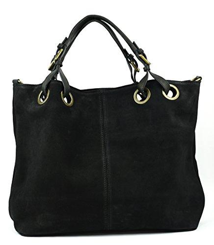 OH MY BAG Sac à Main cabas cuir nubuck femme - Modèle Opéra Noir