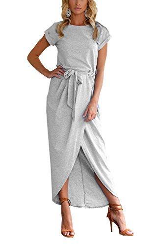 Cloris.W Women's Solid Color Cotton Crew Neck Short Sleeve Front Slit Casual Long Maxi Dress with Belt (L, (Animal Print Georgette Tunic)