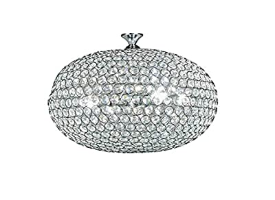 Diamond Life 6-light Chrome Finish Sphere Metal Shade Crystal Chandelier Hanging Pendant Ceiling Lamp Fixture, #305