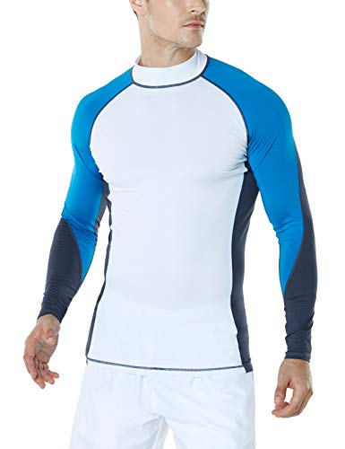 (TSLA TM-MSR33-RYB_2X-Large Men's UPF 50+ Long Sleeve Rashguard Surf Athletic Fit)