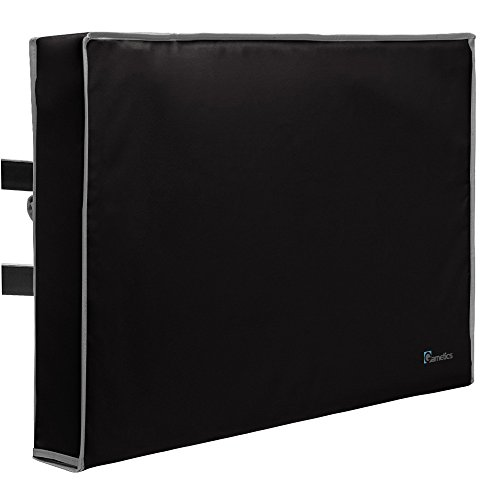 Outdoor TV Cover 40'', 42'', 43'' - Universal Weatherproof Protector for Flat Screen TVs - Fits most TV Mounts and Stands - Black by Garnetics