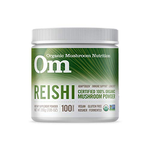 Om Organic Mushroom Nutrition Supplement Reishi: Adaptogen, Immune Support, Longevity, 100 servings, 7.14 Ounce, 200 grams