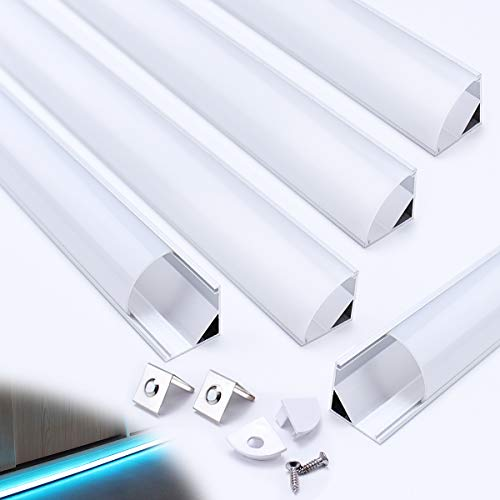 Muzata Aluminum Channel for Led Strip Light with Milky White Curved Diffuser Cover, End Caps, and Mounting Clips, Right Angle Aluminum Profile, V-Shape,with Video 5-Pack 3.3ft/1M V1SW,Series - Diffuser Cover
