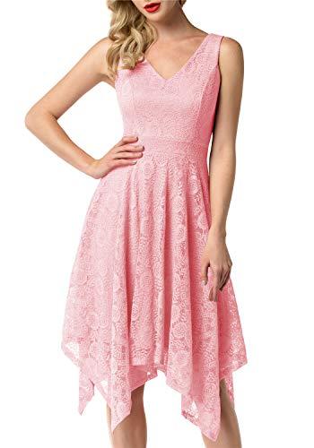 Dressystar 0036 V-Neck Sleeveless Floral Lace Asymmetrical Handkerchief Hem Cocktail Party Dress M Pink ()