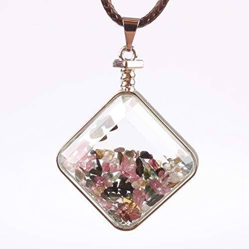 - Majinz Store Clear Glass Pendant 32X32Mm Tourmaline Garnet Chip Beads Heart Coin Apple Clear Crystal Glass Box Pendant 1Pcs