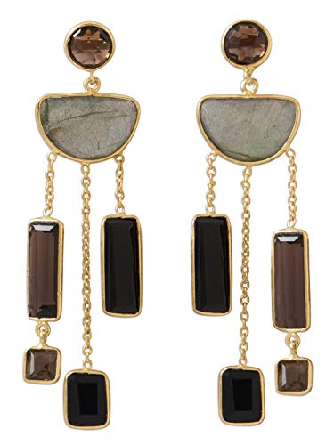 Labradorite Smoky Quartz Black Onyx Chandelier Earrings Gold-plated Sterling Silver ()
