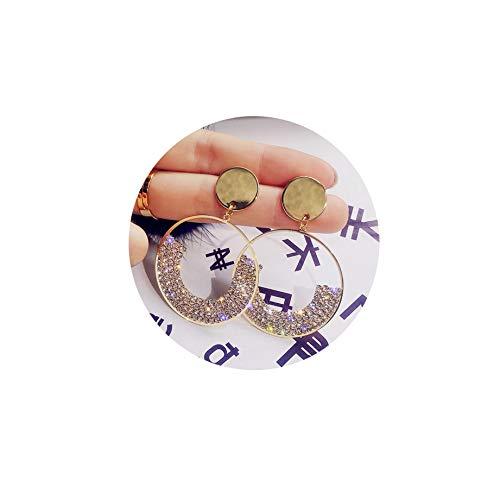 ATIMIGO Crystal Circle Drop Earrings Gold Disc Dangle Ball Earrings for Women Girls - Disc Drop Round