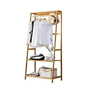 Ufine Garment Rack Bamboo Wood Entryway Coat Rack 3 Tiers Shoe Clothes Storage Shelves 6 Coat Hooks 1 Hanging Bar for Bag Clothing Umbrella Holder Living Room Bedroom Hallway
