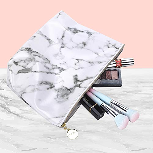 Marble Cosmetic Bag, Large Makeup Bag for Women Waterproof Cute Pouch Toiletry Travel Bag and Brush Organizer