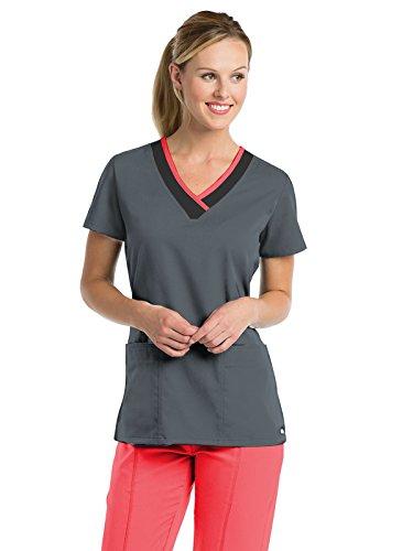 Grey's Anatomy Women's 41399 2 Pocket Color-Block V-Neck Scrub Top- Granite/Black/Coral Crush- - Grey Coral
