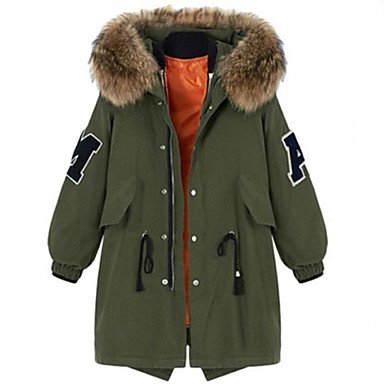 XX&GX Women's Solid Green Padded Coat,Plus Size Hooded Long Sleeve XX&GXZY
