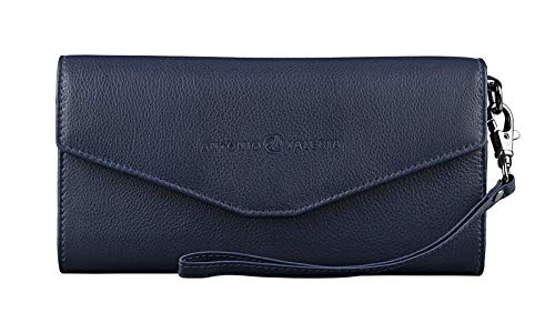Antonio Valeria Amy, Blue, RFID Blocking, Slim Premium Leather Wallet cum Clutch for Women
