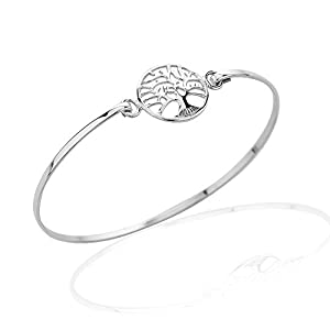925 Sterling Silver Round Frame Eternal Tree of Life Branch Wrap Bangle Bracelet