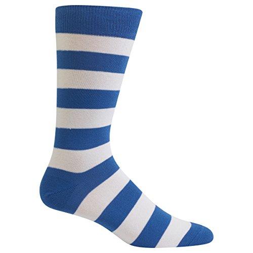 (Hot Sox Men's Fashion Pattern Slack Crew Socks, College Rugby Stripe (Blue/White), Shoe Size: 6-12)