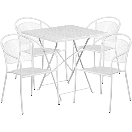 MFO 28'' Square White Indoor-Outdoor Steel Folding Patio Table Set with 4 Round Back Chairs