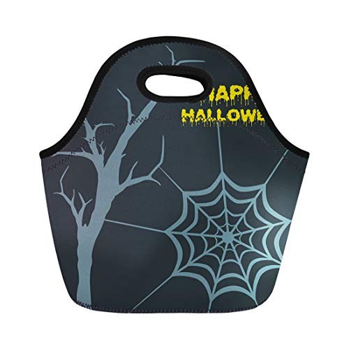 Tinmun Lunch Tote Bag Blue Dead Tree and Spider for Halloween Party Night Reusable Neoprene Bags Insulated Thermal Picnic Handbag for Women Men ()