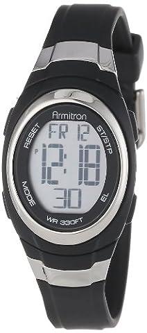 Armitron Sport Unisex 45/7034BLK Stainless Steel Accented Black Resin Strap Chronograph Digital - Alarm Chronograph Rubber Strap