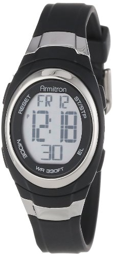 Armitron Sport Unisex 45/7034BLK Stainless Steel Accented Black Resin Strap Chronograph Digital Watch ()