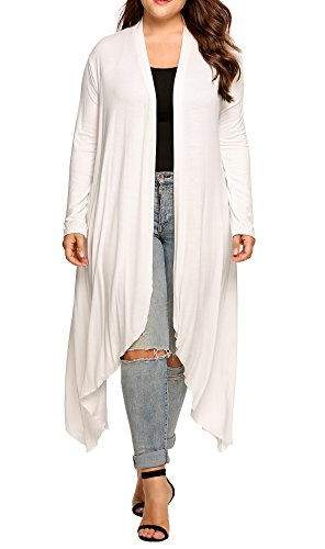 IN'VOLAND Women's Plus Szie Long Sleeve Waterfall Asymmetric Drape Open Long Maxi Cardigan White