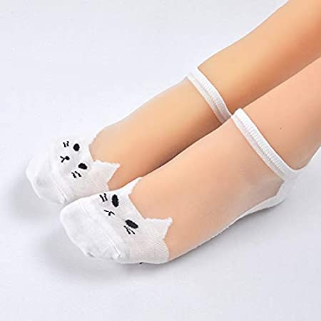 Amazon.com: Gold Happy Cute Kawaii Print cat Harajuku Transparent Socks Women Girl Summer Cotton Funny Happy Animal Low Cut Ankle Sock,sokken vrouwen: ...