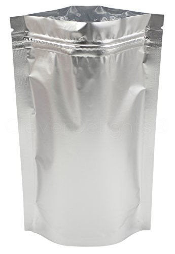 100 Pack - CleverDelights Silver Stand-Up Pouches - 6