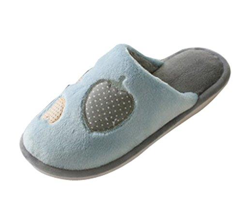 Cattior Heren Koraal Warme Huis Schoenen Harige Slippers Blauw